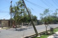Por la caída de un poste, está cortada Las Heras entre Laprida y Central