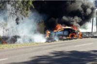 Se incendió el auto en el que viajaba Daniel Passarella en Santa Fe
