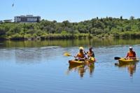 El dique San Agustín ya está habilitado para bañarse y hacer kayak