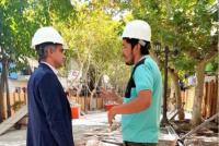 Franco Aranda inspeccionó los avances en la remodelación de la peatonal