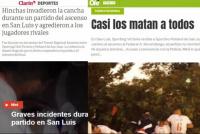 Medios nacionales reflejaron las agresiones que padeció Peñarol en San Luis
