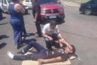 Sufrió un accidente y fue auxiliado por Fabián Gramajo