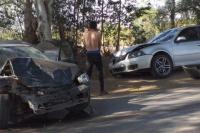 Tres autos fueron protagonistas de un violento accidente a metros del Penal de Chimbas