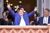 Diego Maradona con Alberto Fernández en La Rosada: