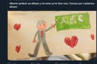 Tras el pedido, decenas de niños le enviaron dibujos a Alberto Fernández