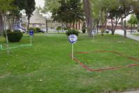"""Figuras geométricas y carteles para armar """"burbujas"""" en la plaza de Santa Lucía"""