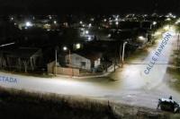 Angaco: iluminaron con luz led la calle Prolongación Rawson